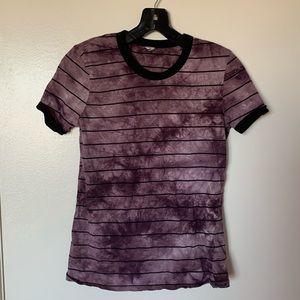 Women's purple tie dye striped tee